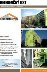 Ekonomservis, referenčný list, Adámiho 12 - 22, Bratislava