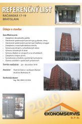 Ekonomservis, referenčný list, Račianska 17 - 19, Bratislava
