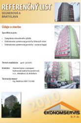 Ekonomservis, referenčný list, Segnerova 6, Bratislava