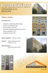 Ekonomservis, referenčný list, Tupolevova 16 - 18, Bratislava