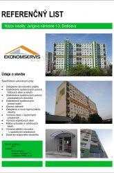 Ekonomservis, referenčný list, Jurigovo námestie 1 - 3, Bratislava