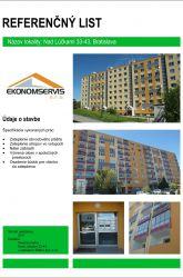 Ekonomservis, referenčný list, Nad Lúčkami 33 - 43, Bratislava