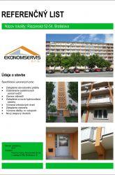 Ekonomservis, referenčný list, Riazanská 52 - 54, Bratislava
