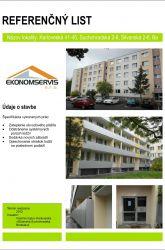 Ekonomservis, referenčný list, Karloveská, Suchohradská, Silvanská, Bratislava