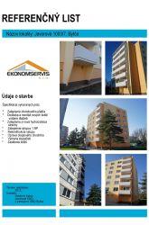 Ekonomservis, referenčný list, Javorová 1003, Bytča