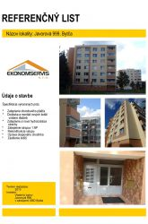 Ekonomservis, referenčný list, Javorová 999, Bytča