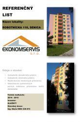 Ekonomservis, referenčný list, Robotnícka 116, Senica